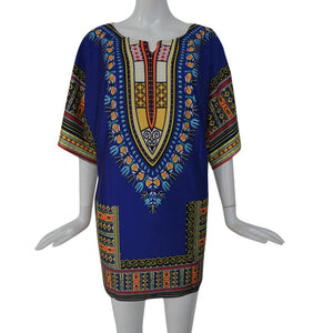Above Knee Print  Dress Women  Dress Summer Traditional African   Straight Print Dresses - Flickdeal.co.nz
