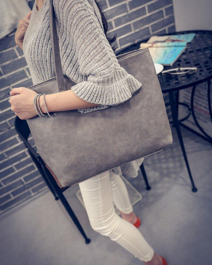 Women Handbag brief shoulder bags gray / black large capacity luxury handbags