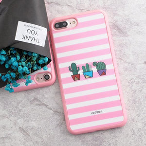 Silicone Case for iPhone 5s 5 SE 6 6s 6plus 7 7plus Smooth Case Cat Cactus Plants Pattern Silicone case - Flickdeal.co.nz