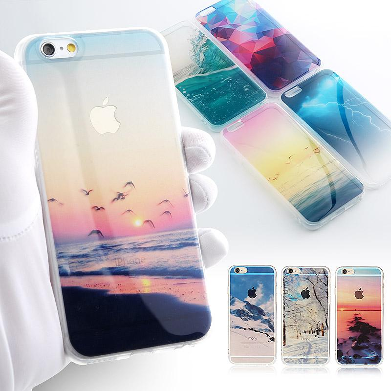 Phone Cases Forest Ocean Snow Mountain landscape Scenery Soft TPU Phone Case For iphone 5 5s SE 6 6s 7 6plus Case - Flickdeal.co.nz