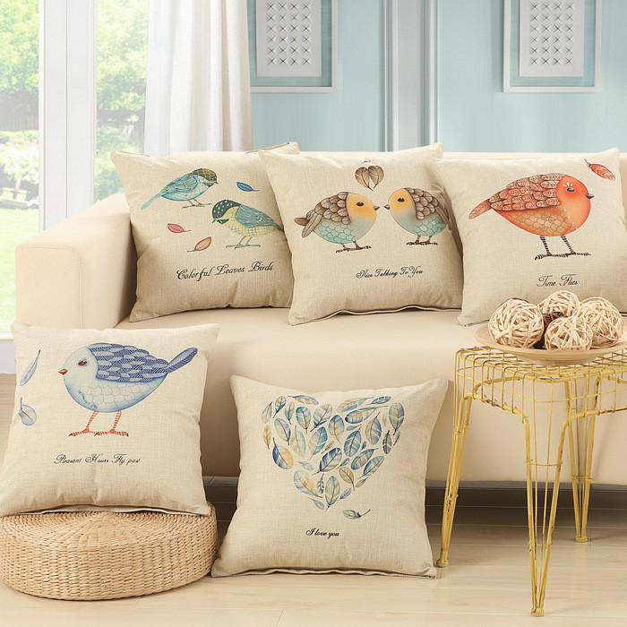 Cushion Covers - Love Bird Feather Pattern Cotton Cushion Cover Decorative Pillowcase 40146