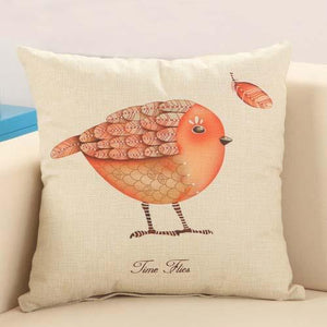 Cushion Covers - Love Bird Feather Pattern Cotton Cushion Cover Decorative Pillowcase 40146 - Flickdeal.co.nz