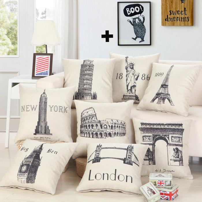 Cushion Covers - Eiffel Tower London bridge Clock Tower Cotton Cushion Cover 8 Designs - Flickdeal.co.nz