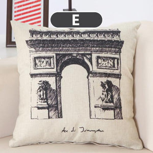 Cushion Covers - Vintage Clock Tower Bridge Pattern Pillowcase 40138 - Flickdeal.co.nz