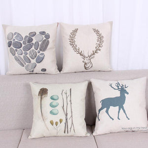 Cushion Covers - Deer Pattern Cotton Cushion Cover - 40013 - Flickdeal.co.nz