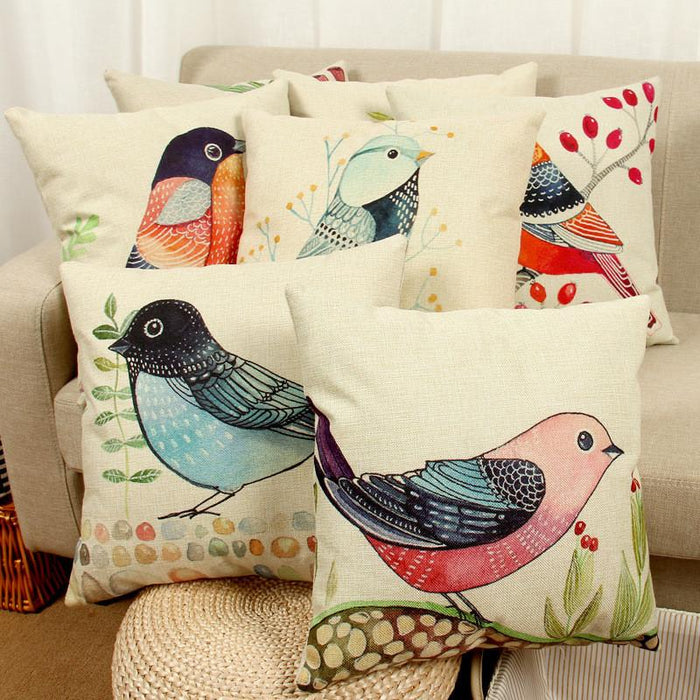Cushion Covers - Birds Pattern Cotton Linen Throw Pillow Cushion Cover- 40038