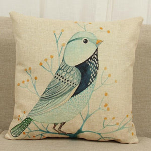 Cushion Covers - Birds Pattern Cotton Linen Throw Pillow Cushion Cover- 40038 - Flickdeal.co.nz