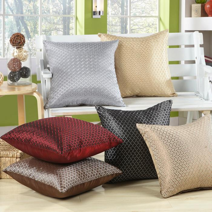 Solid Color 43*43cm Cushion Cover black brown Red Beige Grey