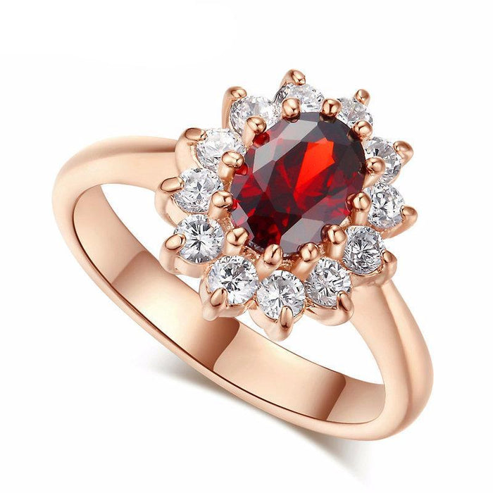 Red Crystal Created Wedding Ring Rose Gold Color Austrian Crystals AW873