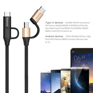 Micro USB 2 in 1 Cable For iPhone & Micro USB Type C & Micro USB Cable For iPhone 7 6 6s Android Phone - Flickdeal.co.nz