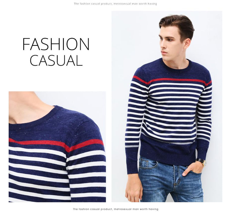 Mens Slim Fit Striped Sweaters  O-Neck Pullover Knitted Men's Clothing - PO105 - Flickdeal.co.nz