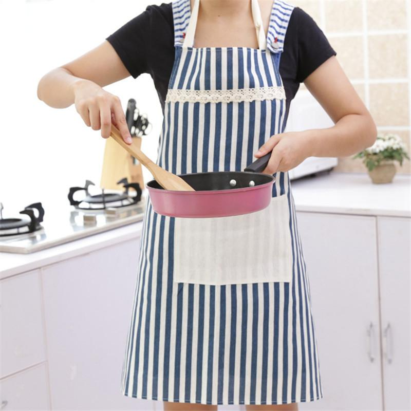 Red Blue Striped Kitchen Apron 46027 - Flickdeal.co.nz