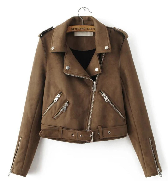 Fashion Women suede motorcycle jacket-IY64
