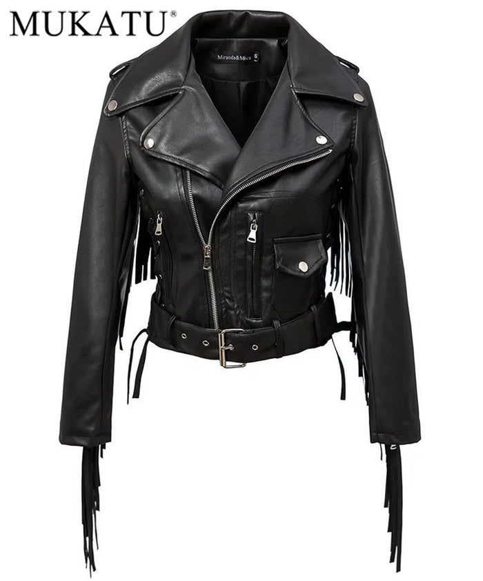 Women Autumn Motorcycle Faux Leather Jackets -H456