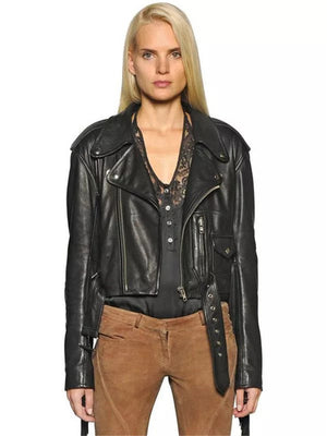 Women Autumn Motorcycle Faux Leather Jackets -H456 - Flickdeal.co.nz