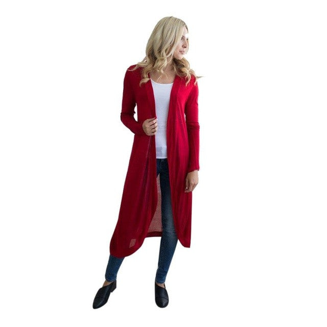 2018 Autumn Women Kimono Long Sleeve Maxi Cardigan Open Floaty Kaftan Jacket Coat Outwear Fashion Solid Long Blouse Black Red - Flickdeal.co.nz