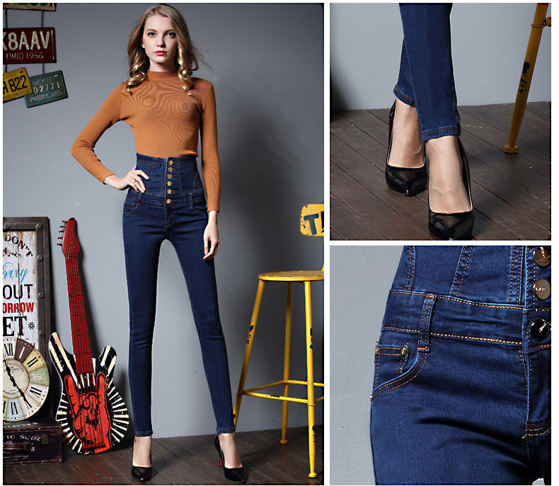 b32e669e884 Womens High Waist Elastic Skinny Denim Long Pencil Pants WP64