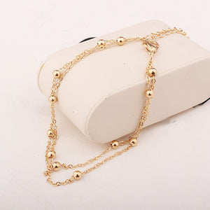 Simple Style Metal Beads Anklets Chain Rose Gold/Silver Color Fashion Vintage Jewellery/Jewelry For Women Wholesale GY67