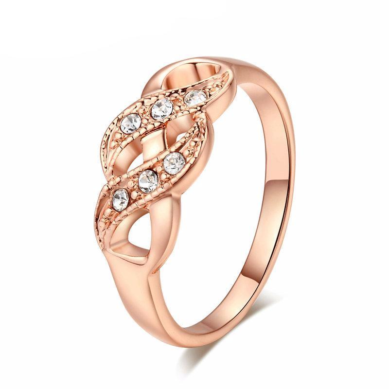 Wave Shape Rose Gold Color Wedding Ring Austrian Crystals Full Sizes AF78