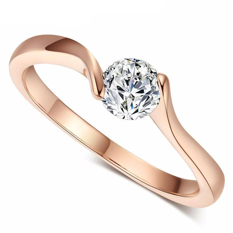 Concise Crystal Ring Rose Gold Color Austrian Crystals Full Sizes WR422