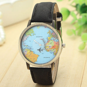 New Global Travel By Plane Map Women Dress Watch Denim Fabric Band