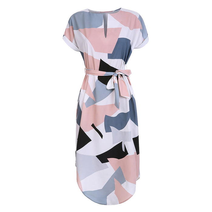 Women's Mini Dress V Neck Floral Printing Dress Short Sleeve Ladies Summer Dress