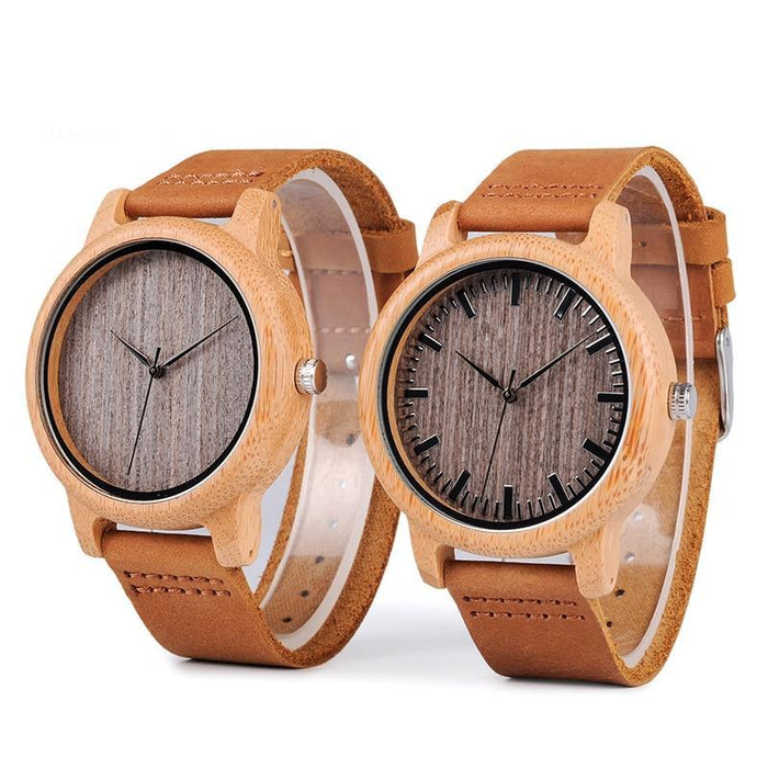 Vintage Lightweight Round Bamboo Wood Quartz Watches With Leather Bands