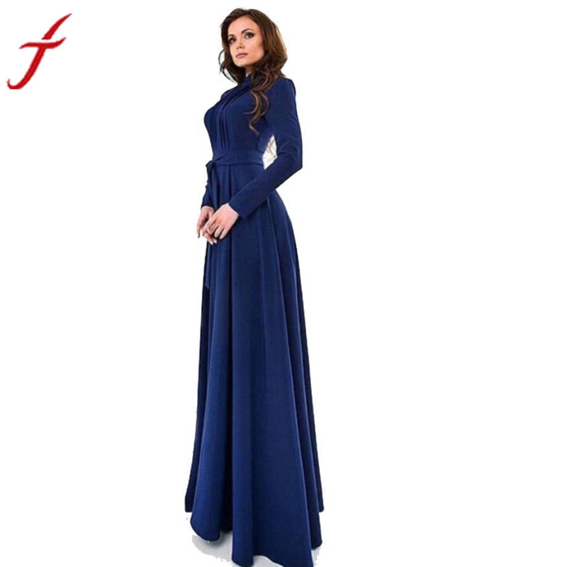 2018 Spring Autumn Women Dress Solid Dark Blue Long Sleeves Slim Maxi Dress Party Ladies Dresses - Flickdeal.co.nz