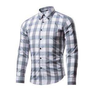New Fashion Shirt Slim Fit Plaid Shirt Chemise  Long Sleeve Casual Grid Shirt - Flickdeal.co.nz