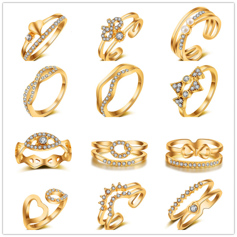 Gold color geometric ring high quality Cubic Zircon Bow Rings For Women/Girls Party gift jewelry WE65