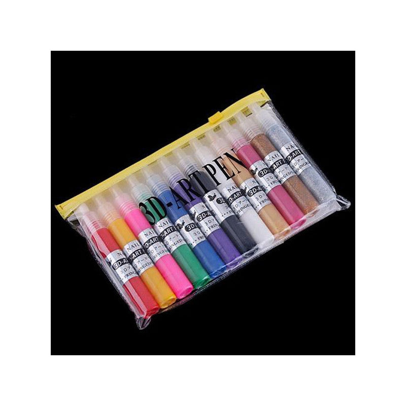 12 Colors UV Gel Acrylic Tips 3D Nail Art DIY Painting Polish Pen Set - Flickdeal.co.nz