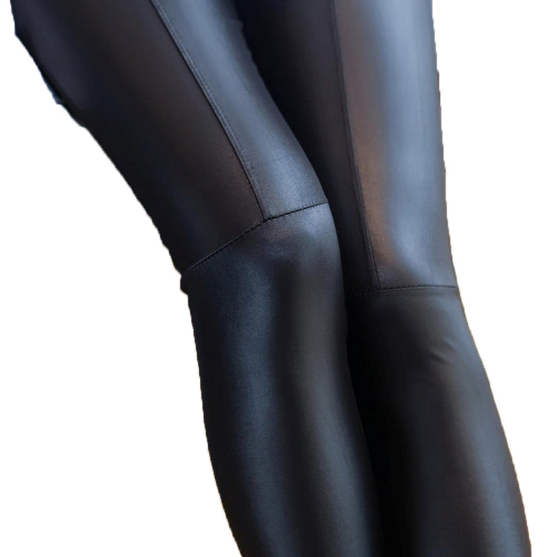 Women Faux Leather Stretchy Joint Legging Pants (Black)