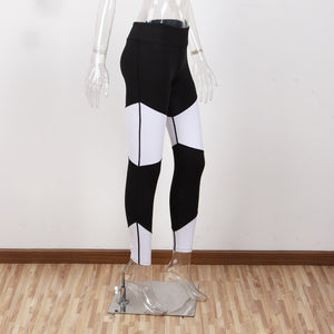 Yoga Pants Women Gym Sport Black White Patchwork Leggings