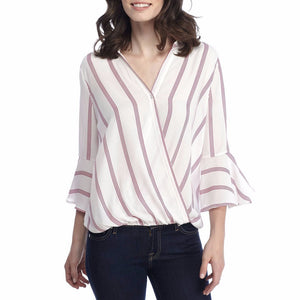 Womens  Ladies Casual Striped Shirt Three Quarter Sleeve Top Tank Blouse - Flickdeal.co.nz