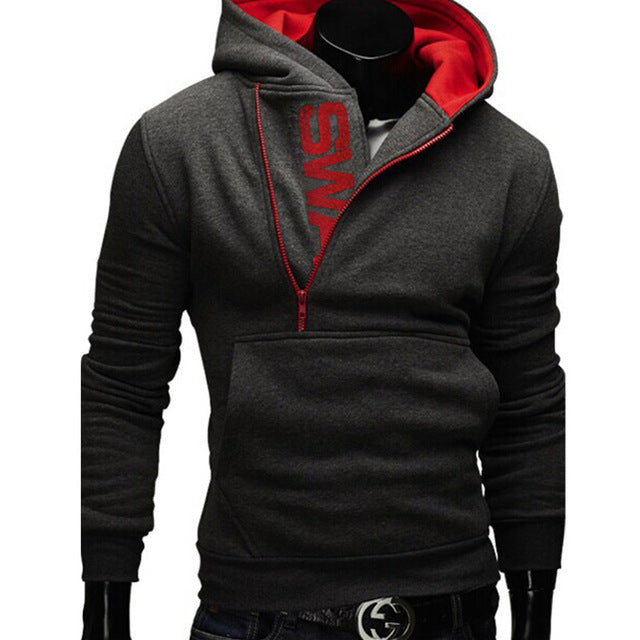 New Fashion Zipper Hoodies for Men Slim Pullover Tracksuit for Men