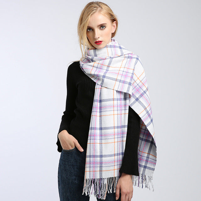 Winter women's scarf cashmere blanket warm knitted plaid scarves