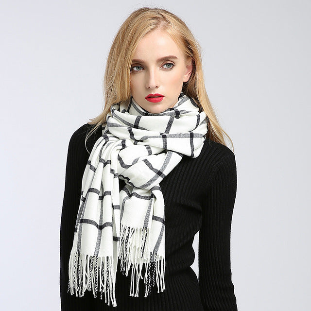 Women winter scarf plaid pashmina ladies scarves designer scarf