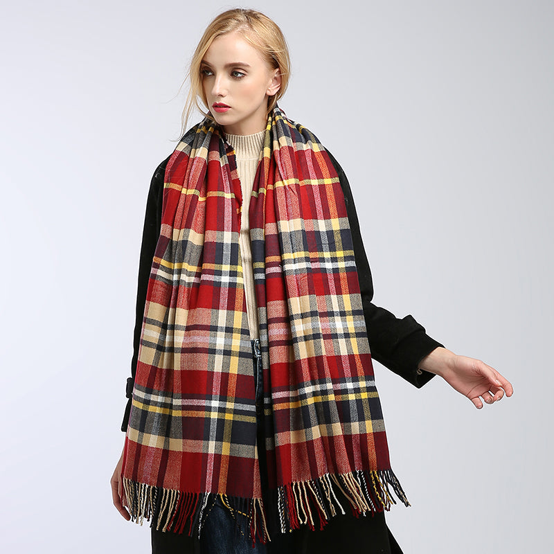 Women's shawl stoles warm knitted plaid scarf WS11