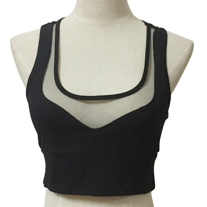 Women's V-Neck Top Mesh Crop Top Bras