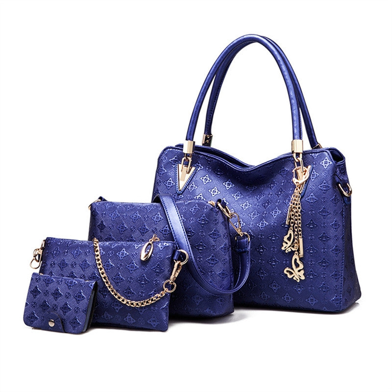 4pcs Women's PU Leather Handbags Shoulder Bag + Tote Bag + Crossbody Bag + Wallet - Flickdeal.co.nz