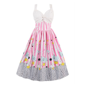 Pink Cotton A-line Dress AE76 - Flickdeal.co.nz