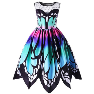 Womens Butterfly Printing Sleeveless Party Dress Vintage Swing Lace Dress - Flickdeal.co.nz