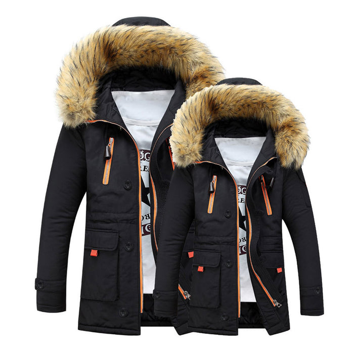 Unisex Women Men Outdoor Fur Wool Fieece Warm Winter Long Hood Coat Jacket