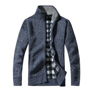 Men Knitting Cotton Stand Zipper Stand Warm Winter Thick Coat Jacket - Flickdeal.co.nz