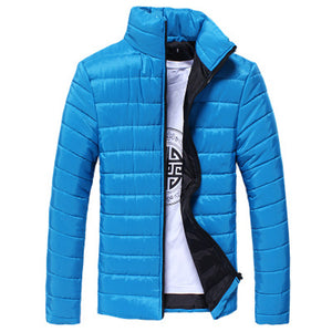 Boys Men Warm Stand Collar Slim Winter Zip Coat Outwear Jacket - Flickdeal.co.nz