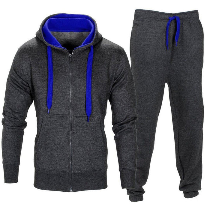 Men Stretchy Trousers Hooded Coat Jacket Pants Jogging Sports Tracksuit Set- AT65