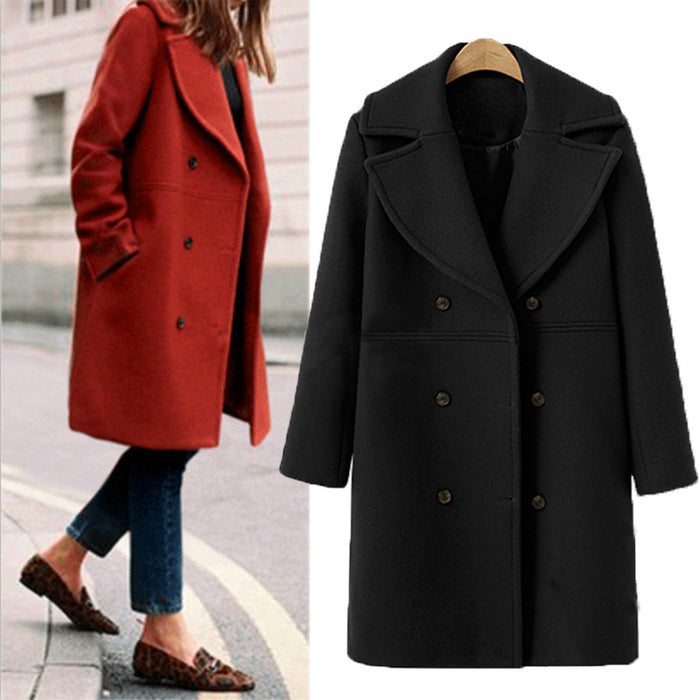 Women Fashion Loose Winter Warm Long Sleeve Button Woolen Jacket Coat-A76