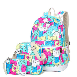 school bags for teenagers Satchel Cartoon canvas backpack fashion Women's backpacks - Flickdeal.co.nz
