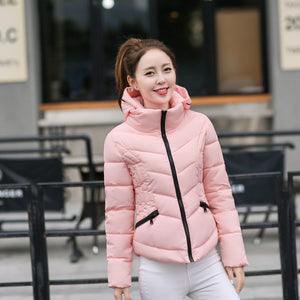 New Fashion Jacket - slim hooded down cotton padded short woman jacket