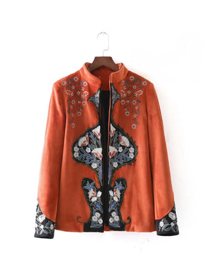 NEW FASHION fall new orange velveteen embroidery jacket U78G